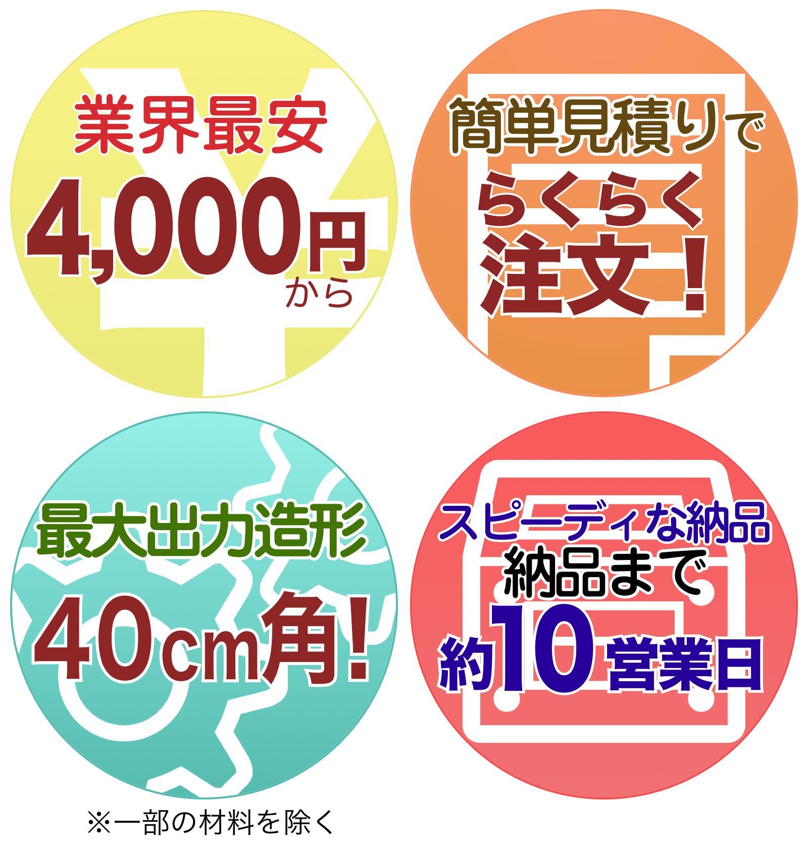 業界最安4,000円〜。簡単見積りで、らくらく注文!最大出力造型40cm角!納品まで約10営業日。